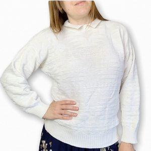 Vintage Textured Collared Preppy Sweater